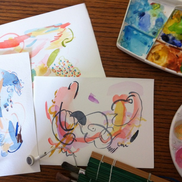 Paintings, Abstract, Watercolour, Summer, Small
