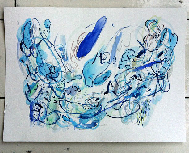 Abstract, Blue, Painting, Watercolour Painting