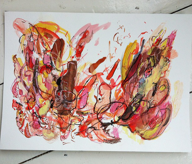 Abstract, Watercolour Painting, Painting, Red, Yellow, Brown