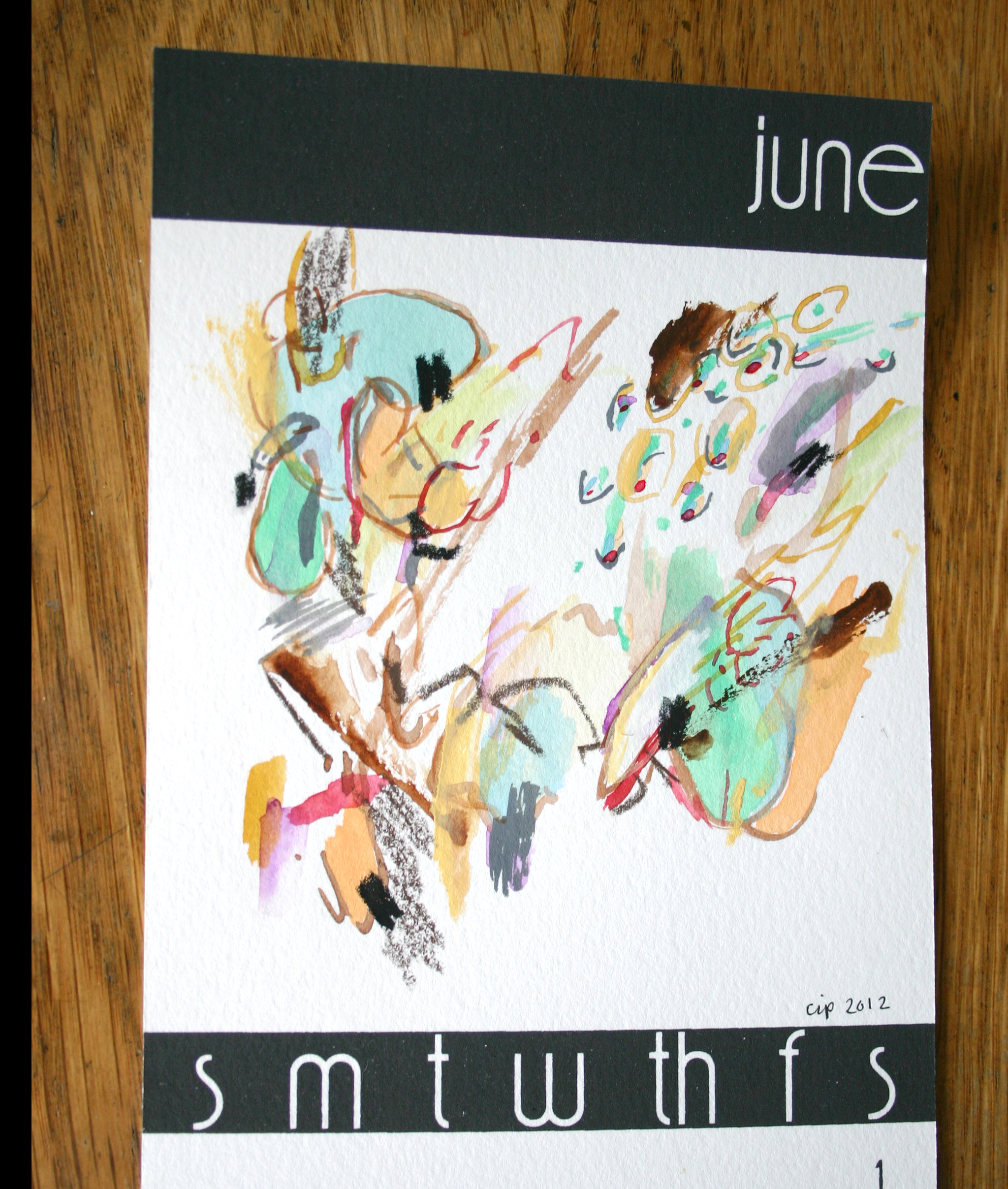 Abstract, Painting, Chrissy Poitras, Calendar, June, Green, Pink