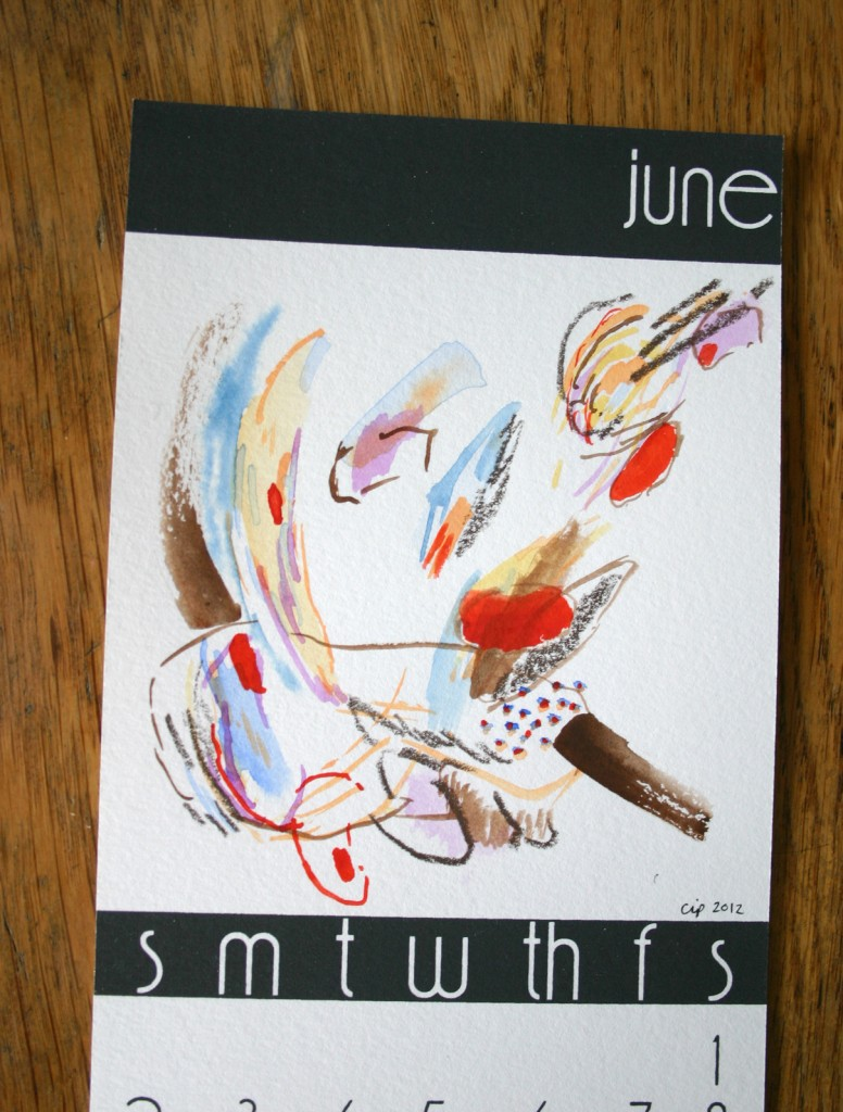 Painting, Abstract, Chrissy Poitras, Blue, Brown, Red, Calendar, June