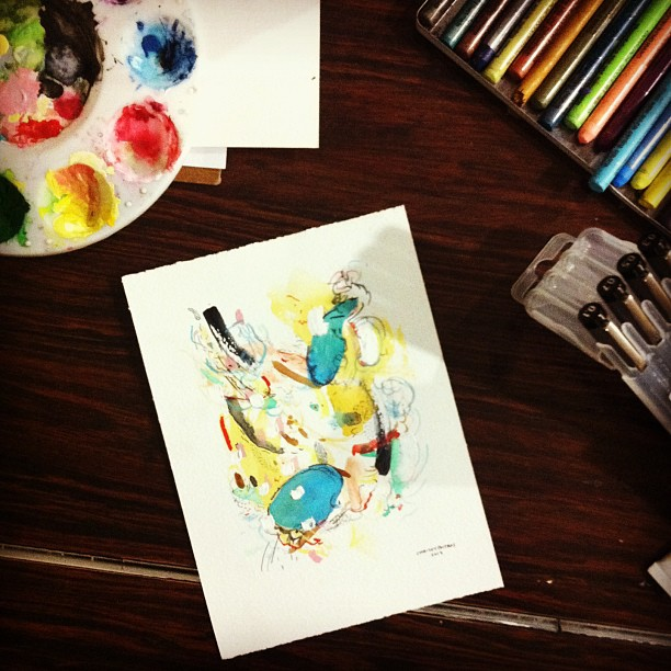 Painting, Chrissy Poitras, Studio, Watercolour, Pen, Paper, Abstract