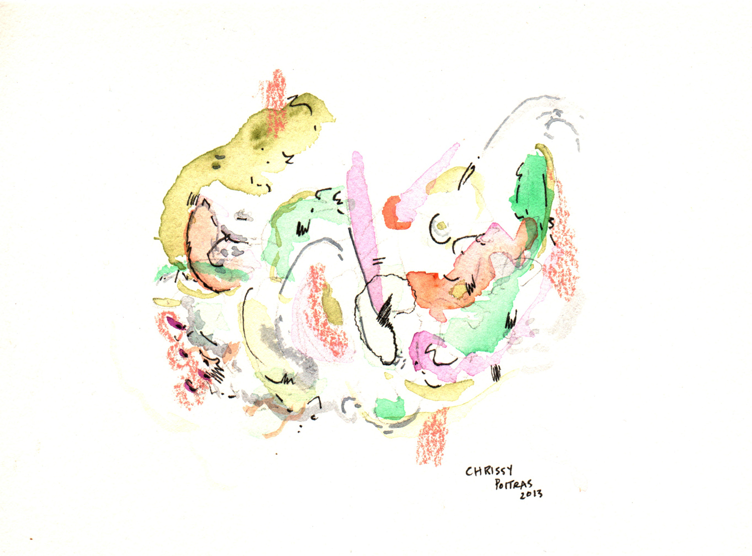Chrissy Poitras, Painting, Abstract, Pink, Purple, Green, Watercolour, Pen, Mini, Paper work