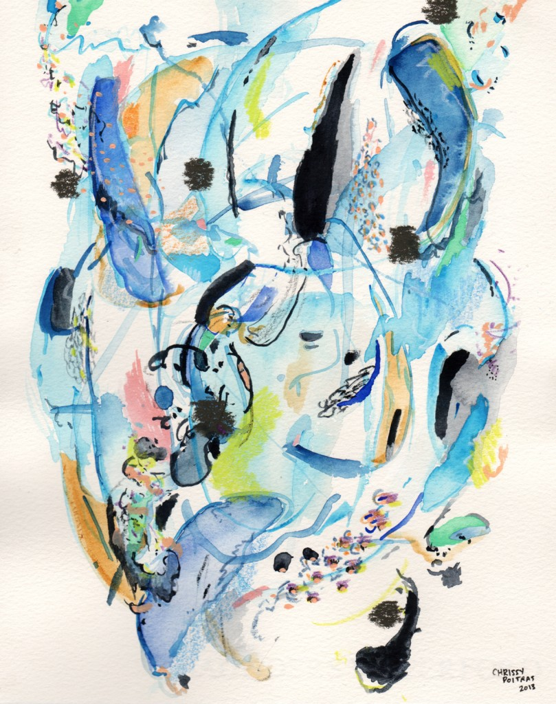Chrissy Poitras, Watercolour, Watercolor, Paper, Abstract, Blue, Green, Pink